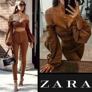 Zara Studio Co ord SET high waist trouser crop top